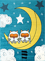 Barneteppe - Moda Sleepy Owls (turkis)